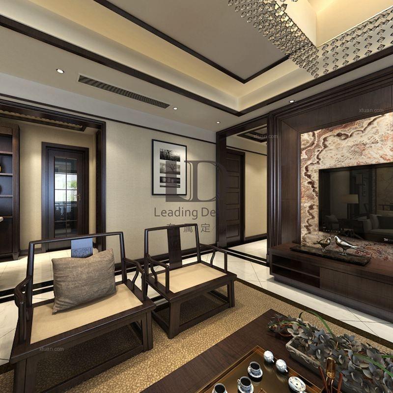 别墅中式风格客厅沙发背景墙图片