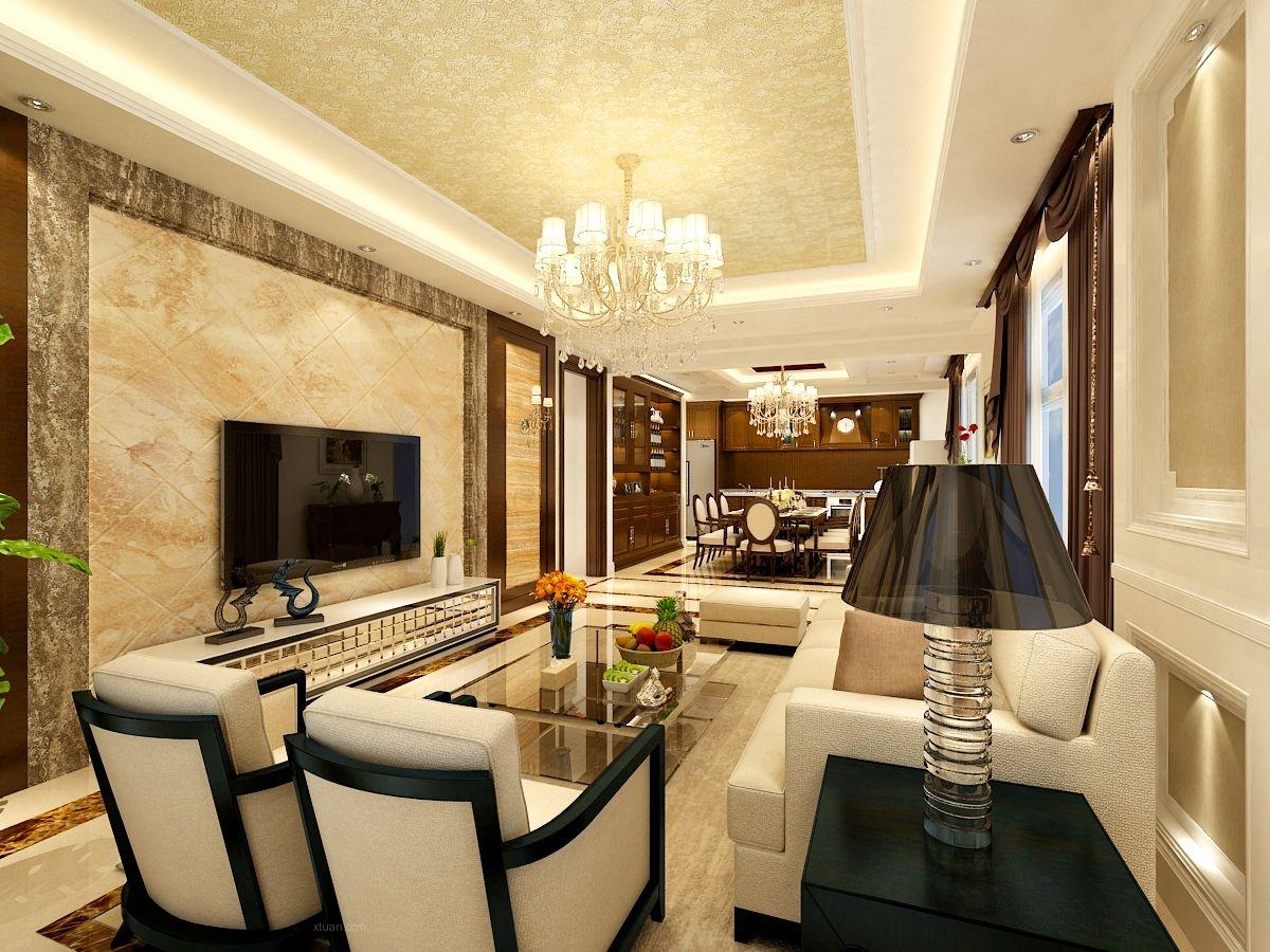 四居室欧式风格餐厅电视背景墙