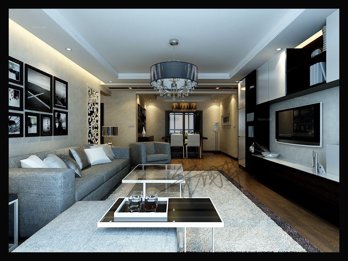 大户型现代风格客厅_凯旋门160平户型现代港式风格