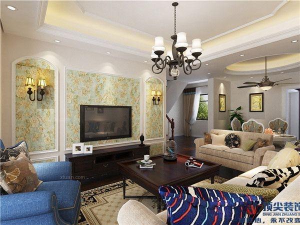 复式楼美式风格客厅电视背景墙