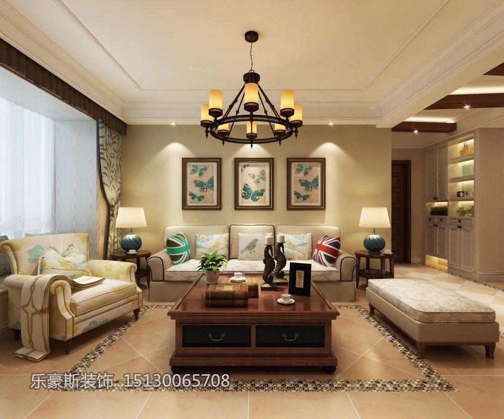 翰林观天下135㎡三室两厅简美风格装修效果图