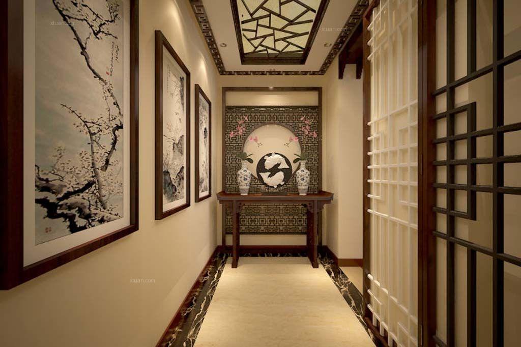 三居室中式风格过道隐形门_春河里c户型装修效果图-x图片