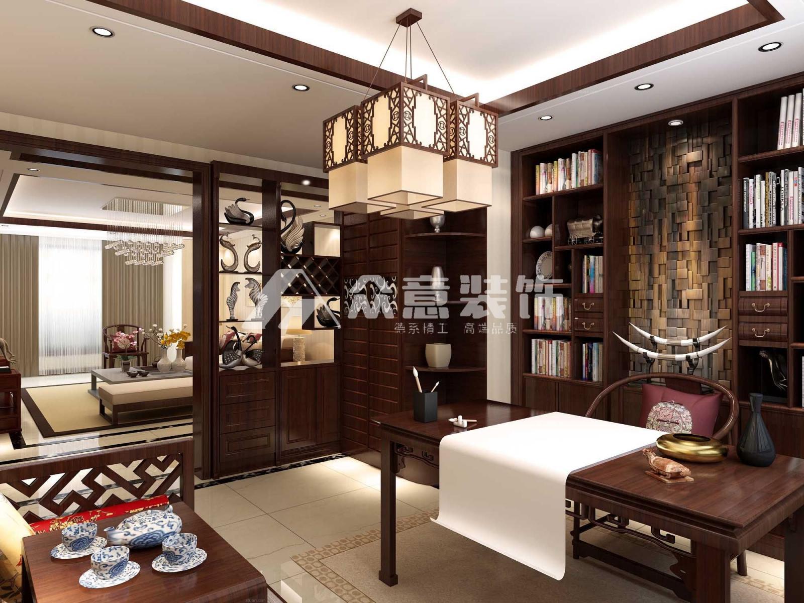 三居室中式风格书房_金辉悦府110平中式风格装修效果