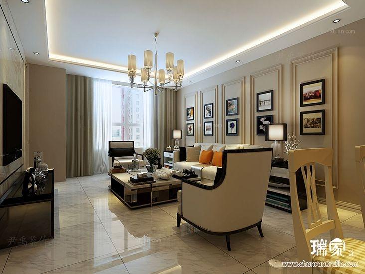 两居室简欧风格客厅_金地悦峰100平简欧图装修效果图图片