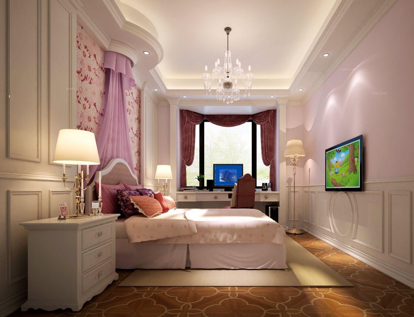 三居室简欧风格卧室卧室背景墙