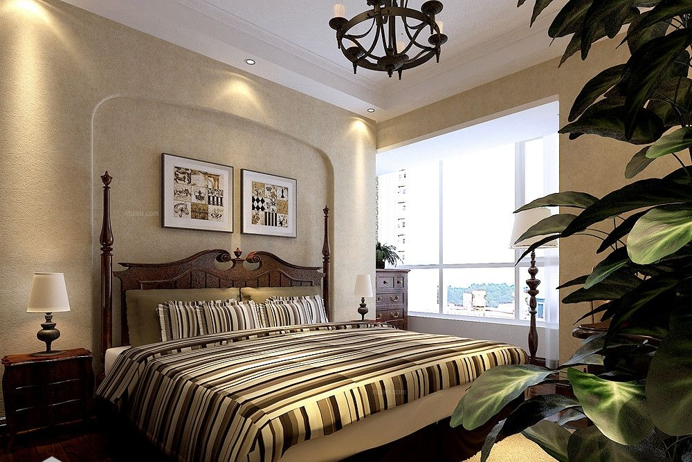 三居室美式风格卧室卧室背景墙图片