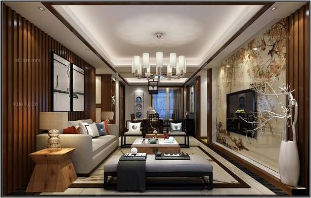 三室两厅中式风格客厅电视背景墙