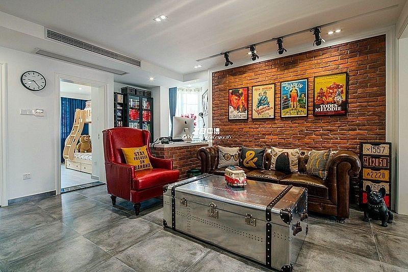 候潮公寓89方现代工业混搭风格家居装修欣赏