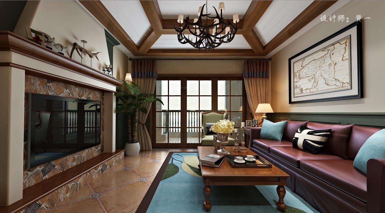 三居室美式风格客厅软装图片