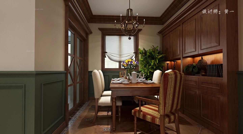 三居室美式风格餐厅软装图片