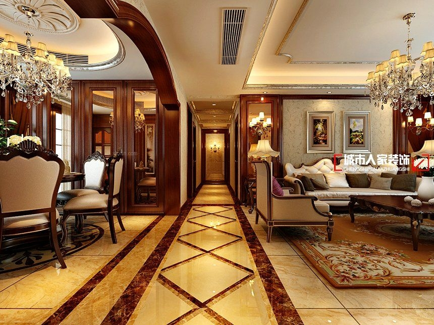 四居室美式风格过道_古典美式客餐厅案例装修效果图-x图片