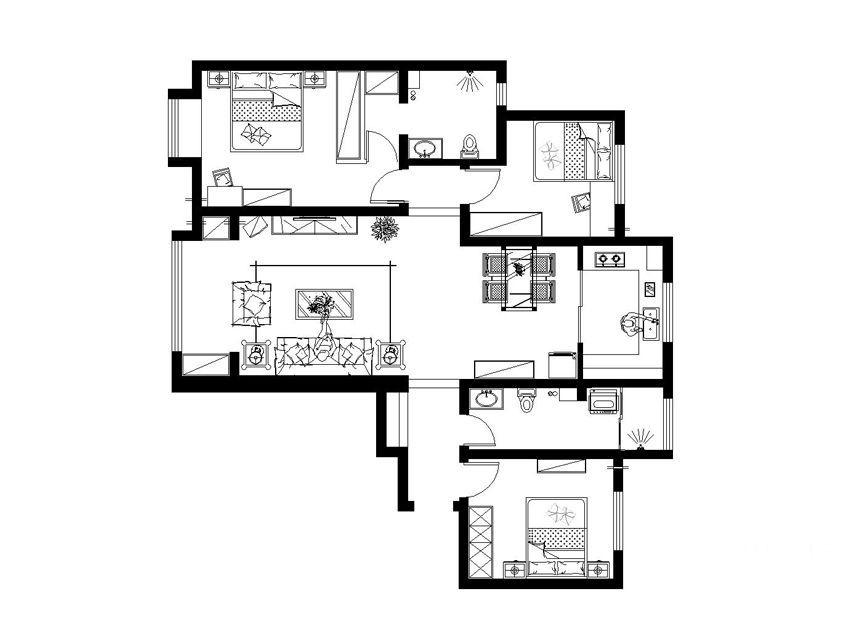 三居室现代简约阳光房入户花园