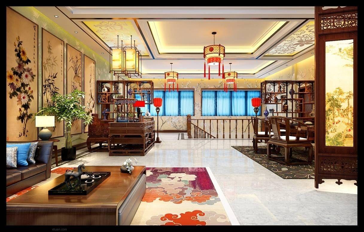 别墅中式风格地下室_新中式《韵》装修效果图-x团图片