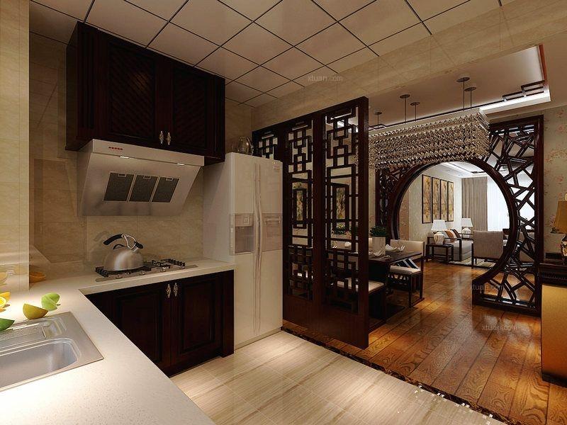 三居室中式风格厨房_保利百合香湾新中式风格装修效果图