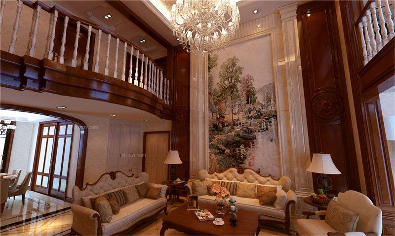 复式楼美式风格客厅沙发背景墙图片