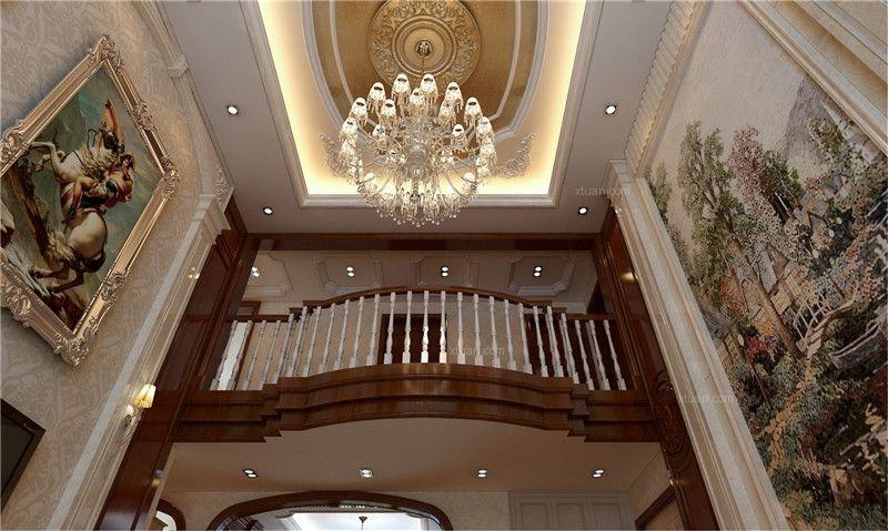 复式楼美式风格客厅圆形吊顶