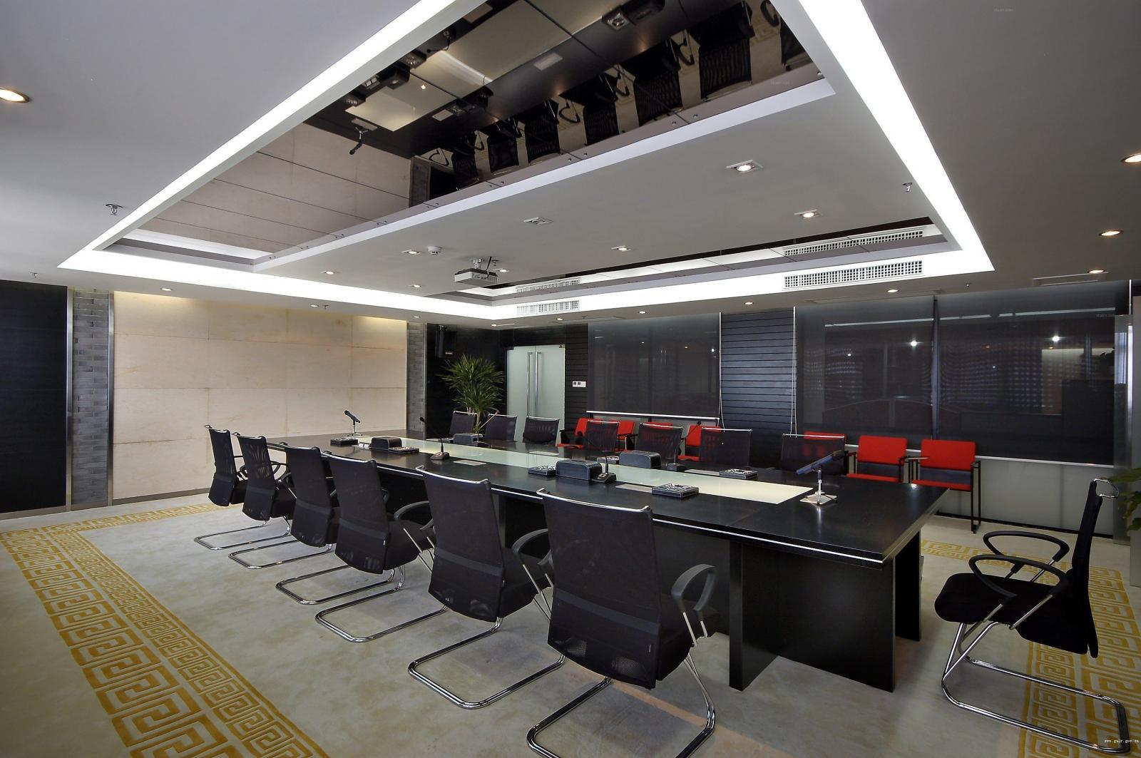 中式风格办公空间_未来现代城办公室装修效果图-x团