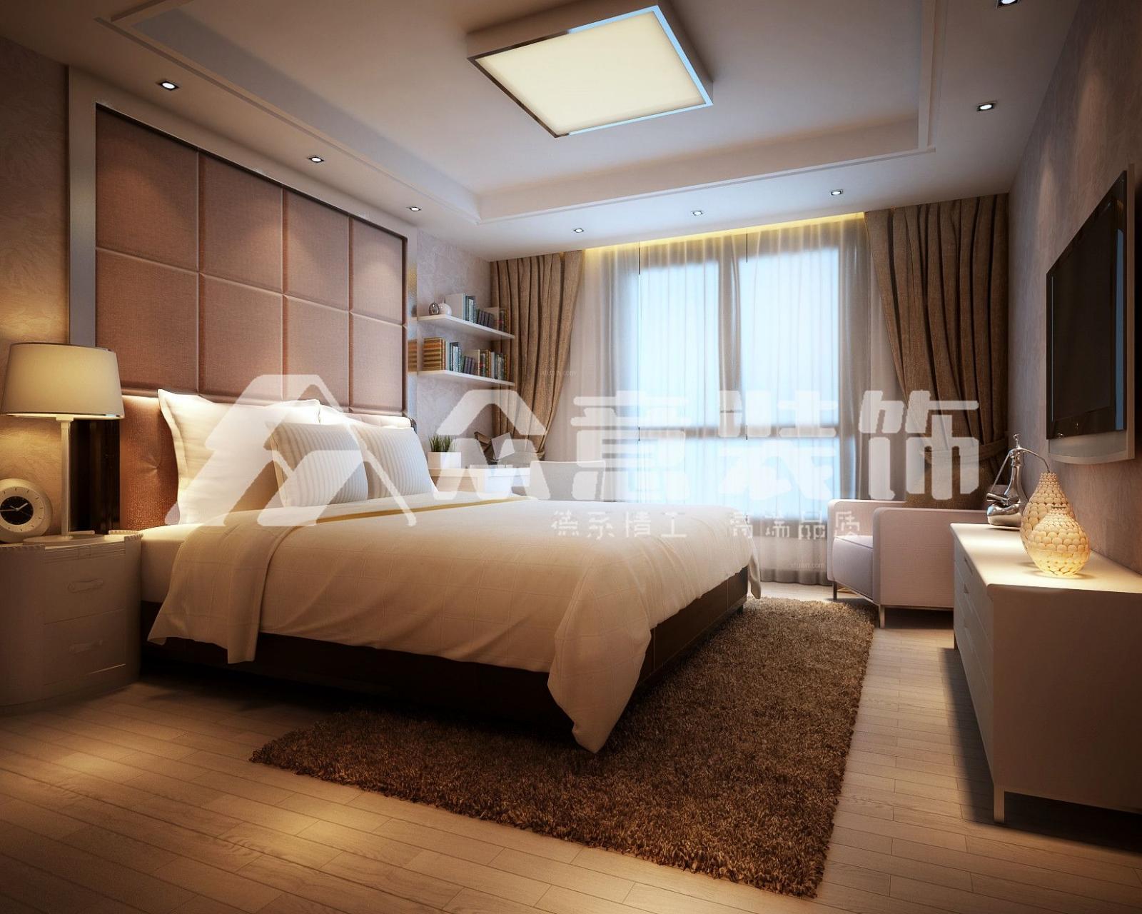 四居室中式风格卧室_城市运动花城160平简中风格装修