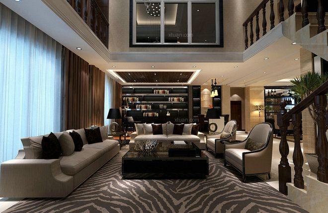 别墅现代风格客厅_嘉宝紫提湾别墅后现代风格设计装修