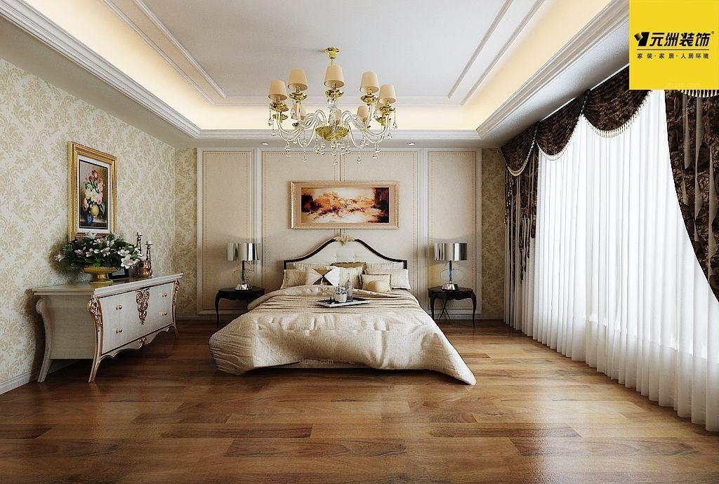 三居室欧式风格主卧室_中海紫金苑-简欧风格装修效果图图片
