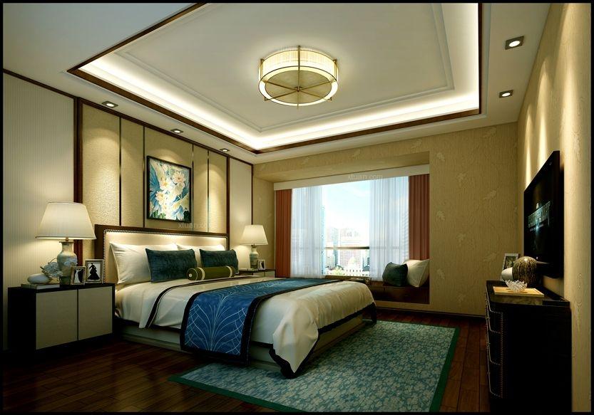 四居室中式风格卧室卧室背景墙