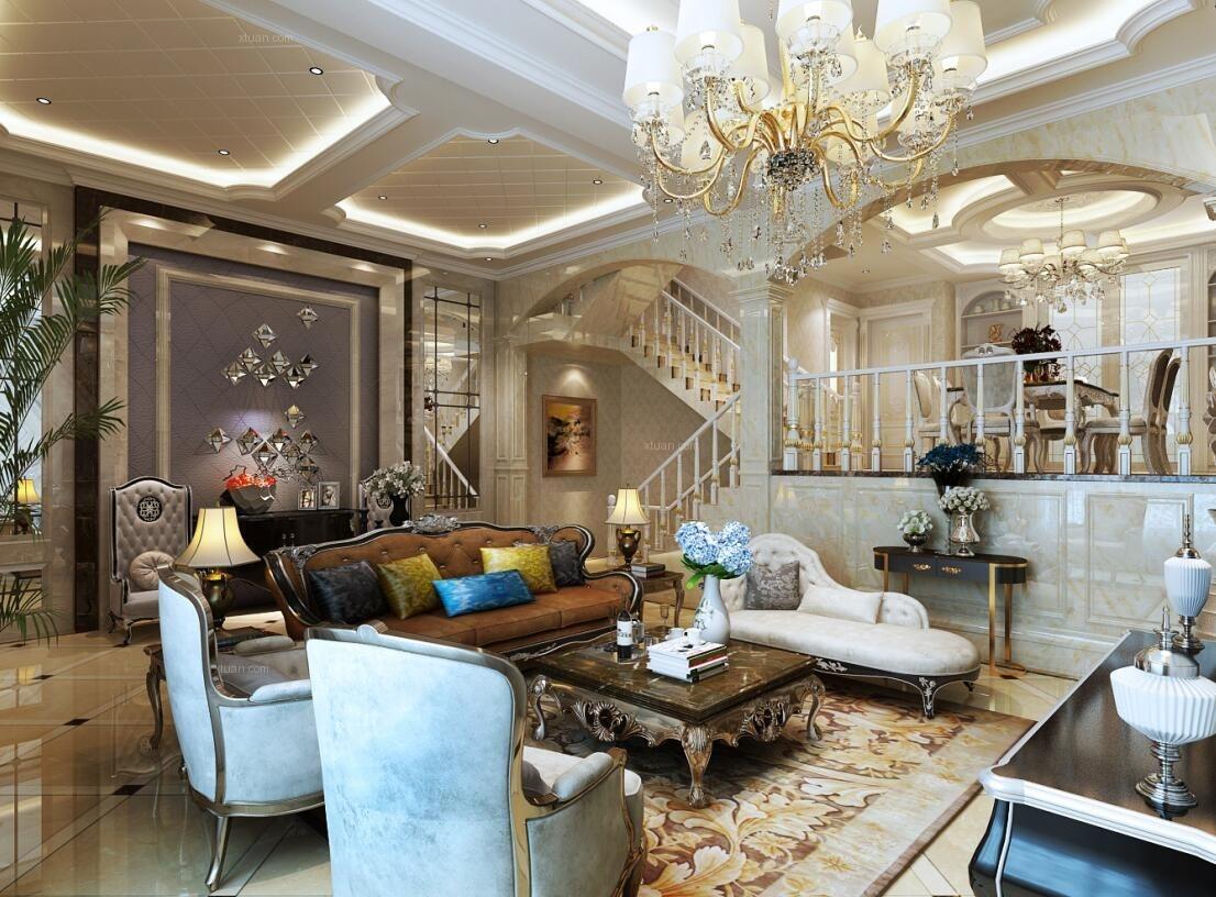 复式楼欧式风格客厅图片