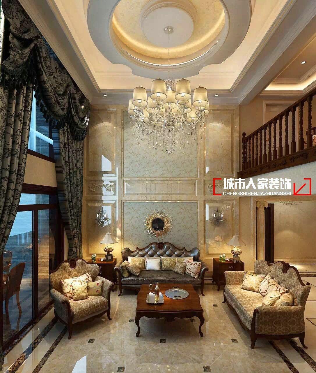 别墅欧式风格客厅_简欧风格别墅设计装修效果图-x团图片