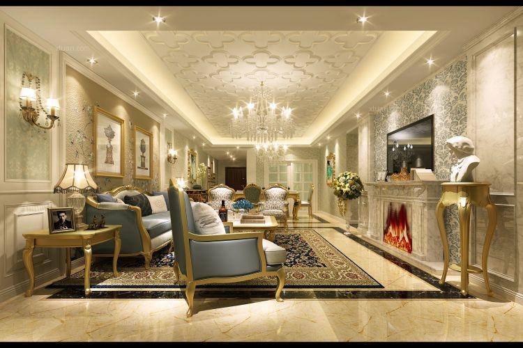 三室两厅欧式风格客厅电视背景墙