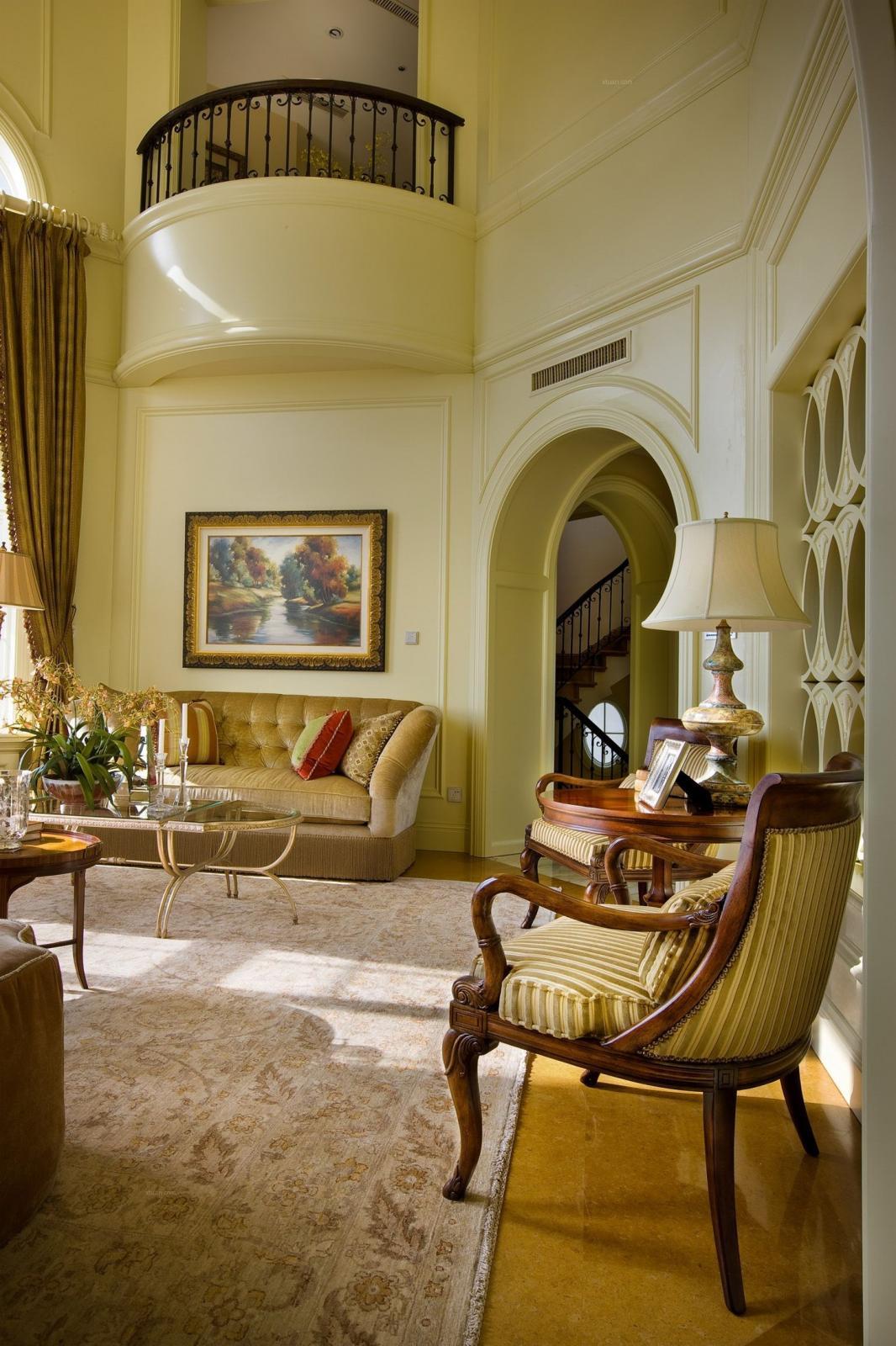 别墅美式风格客厅_御墅临枫别墅设计-美式风格装修图