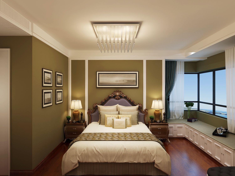 三居室美式风格卧室电视背景墙图片