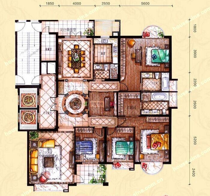 大户型中式风格客厅_河畔新世界装修效果图
