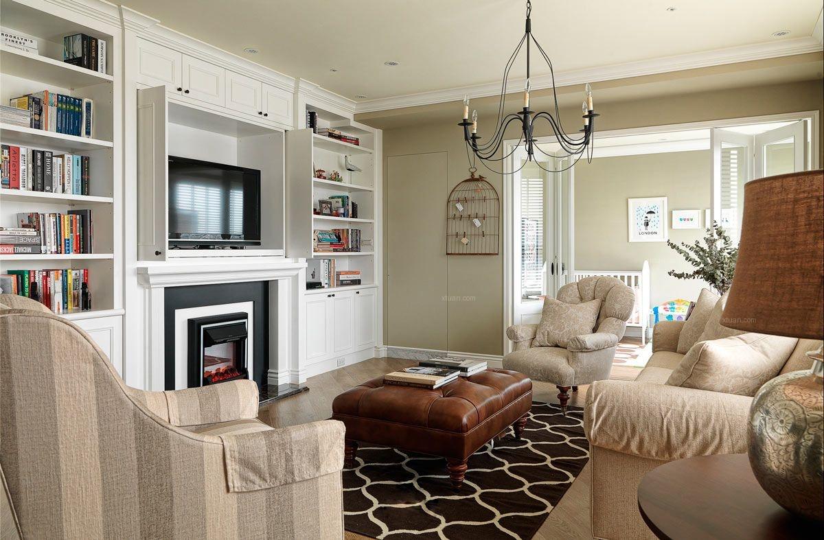 万科蓝山-三居室-美式风格装修效果图-x团装修网图片