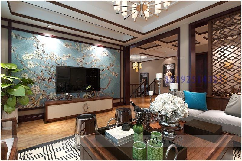 别墅中式风格客厅电视背景墙_三盛国际海岸144平叠拼