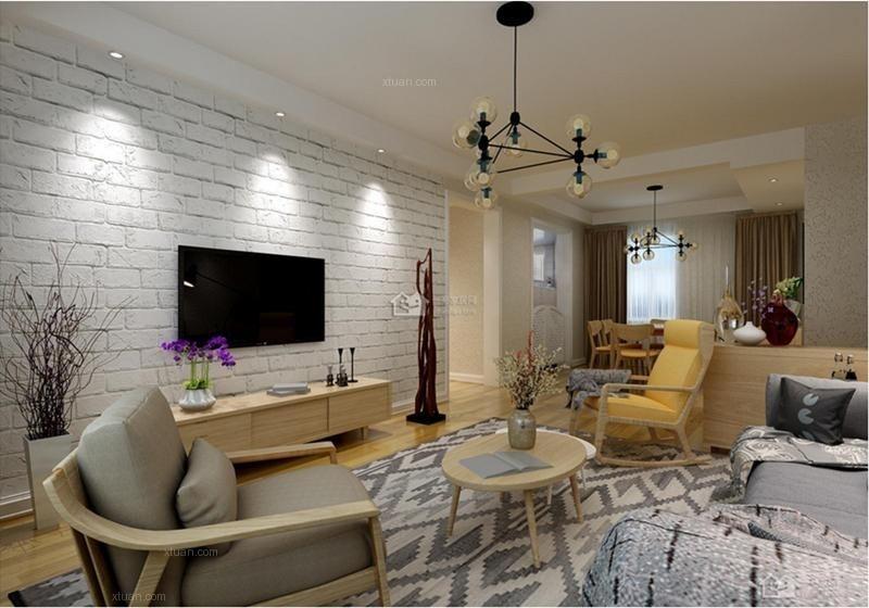 三室两厅北欧风格客厅电视背景墙图片