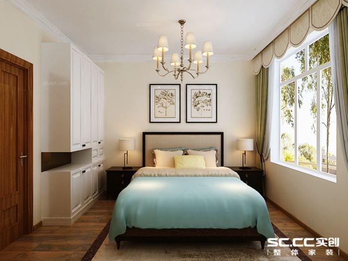 两居室美式风格卧室_碧桂园小区110平古典美式两居