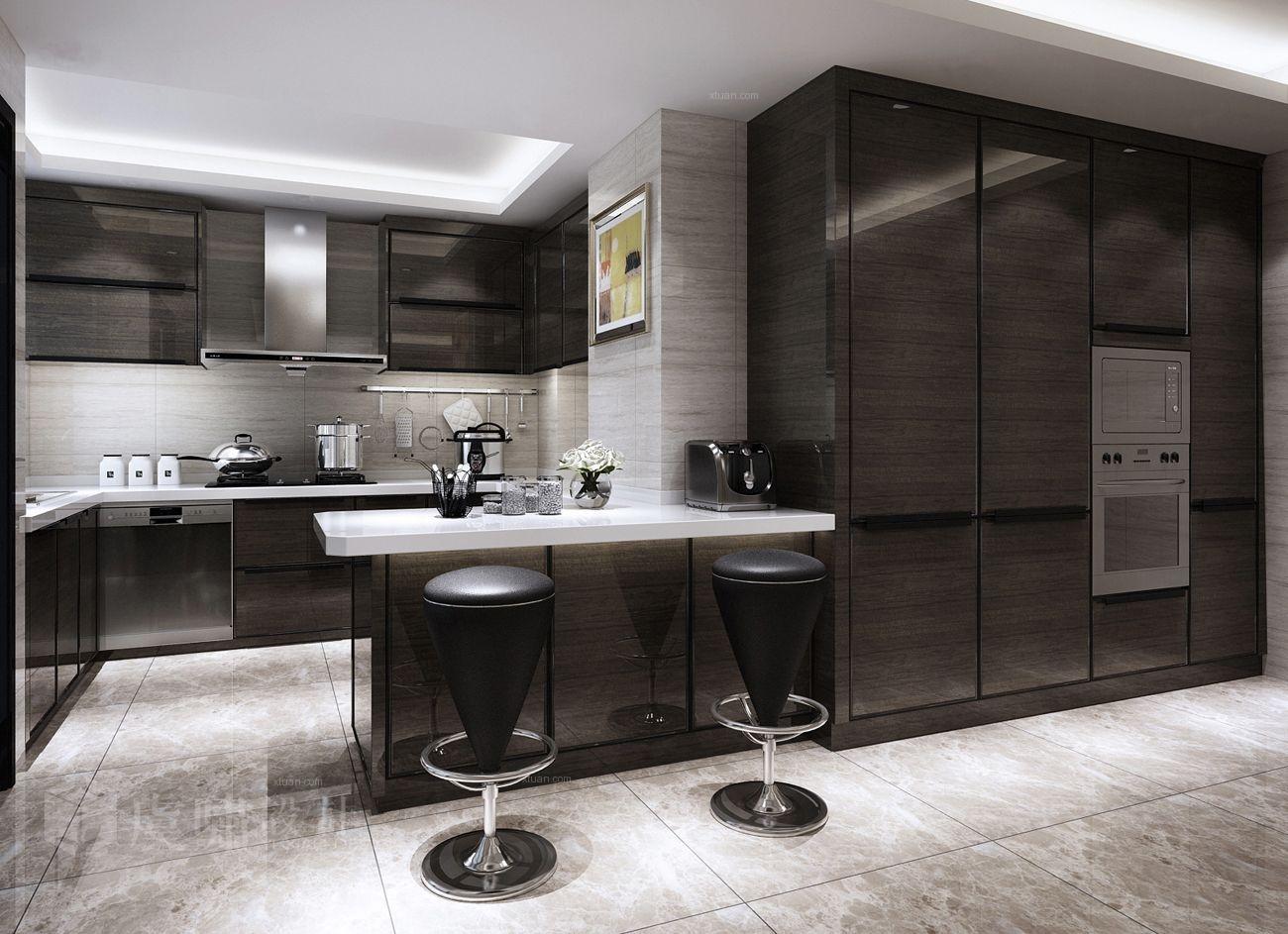 四居室现代风格厨房开放式厨房