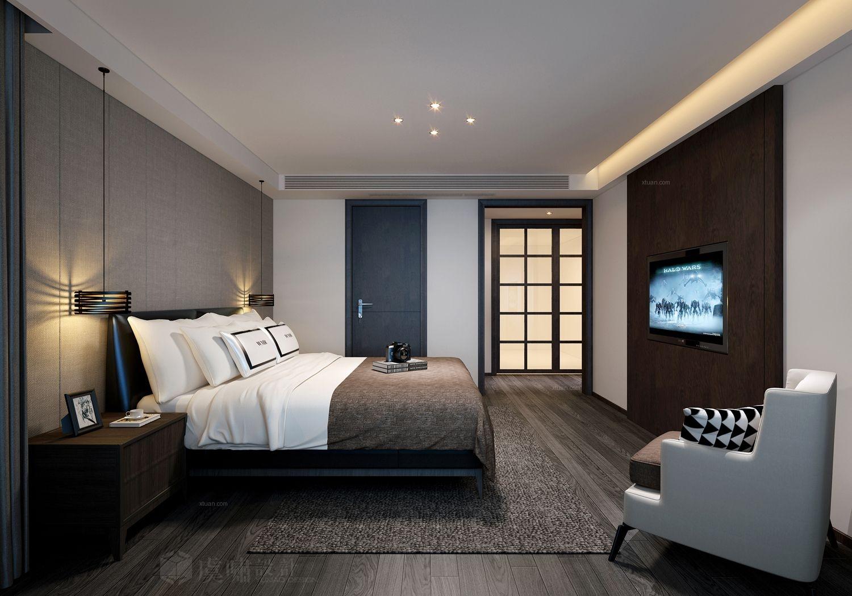 四居室现代风格卧室卧室背景墙