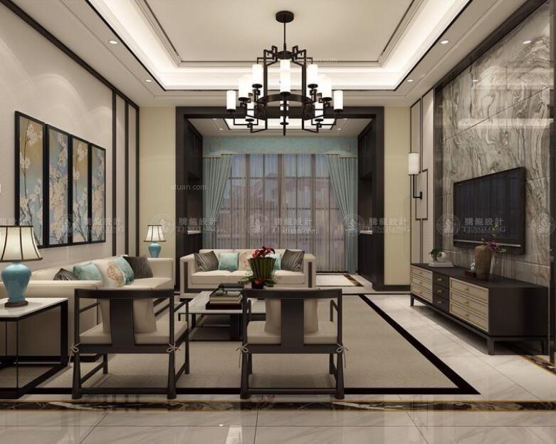 别墅中式风格客厅_三湘海尚名邸别墅新中式设计装修