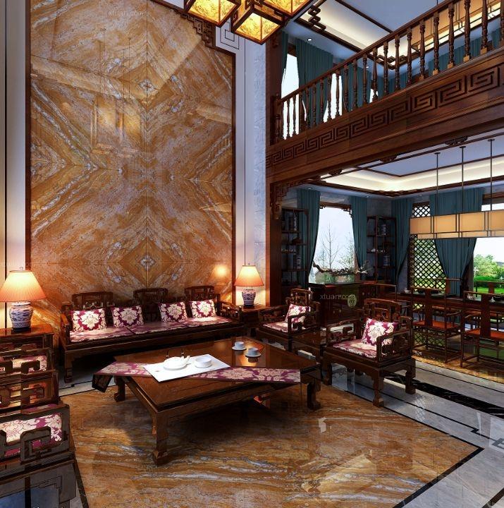 別墅中式風格客廳沙發背景墻