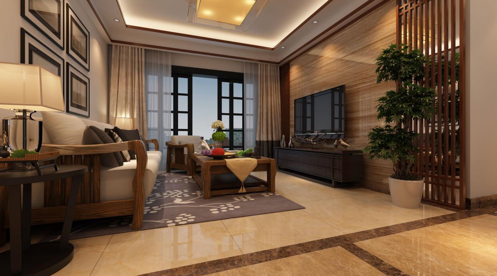 三室两厅中式风格客厅_君御华府97㎡装修效果图图片