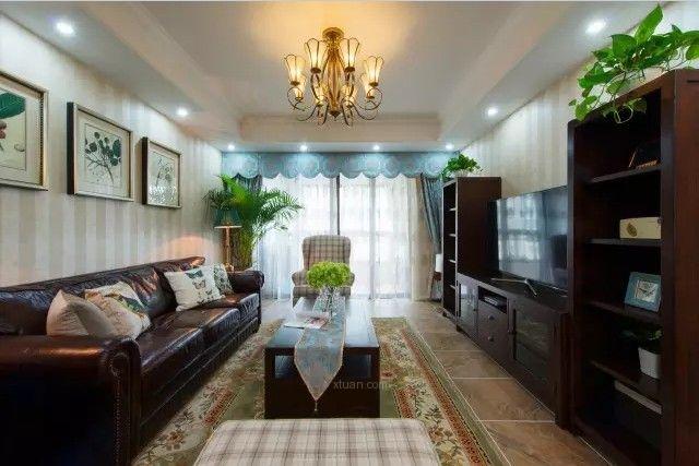 128㎡美式田园风大三居,把皮沙发用的这么高b格也是没图片