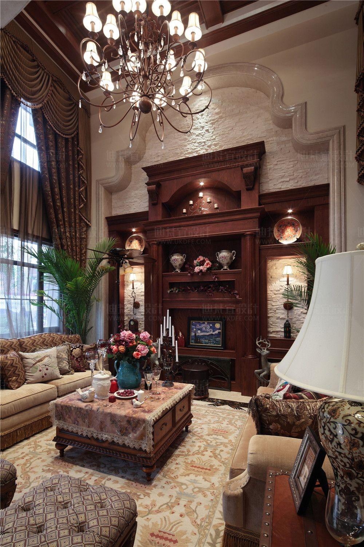 独栋别墅美式风格客厅影视墙