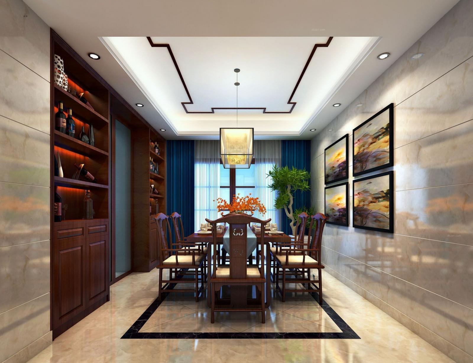 三室两厅中式风格餐厅_新新家园装修效果图-x团装修网图片