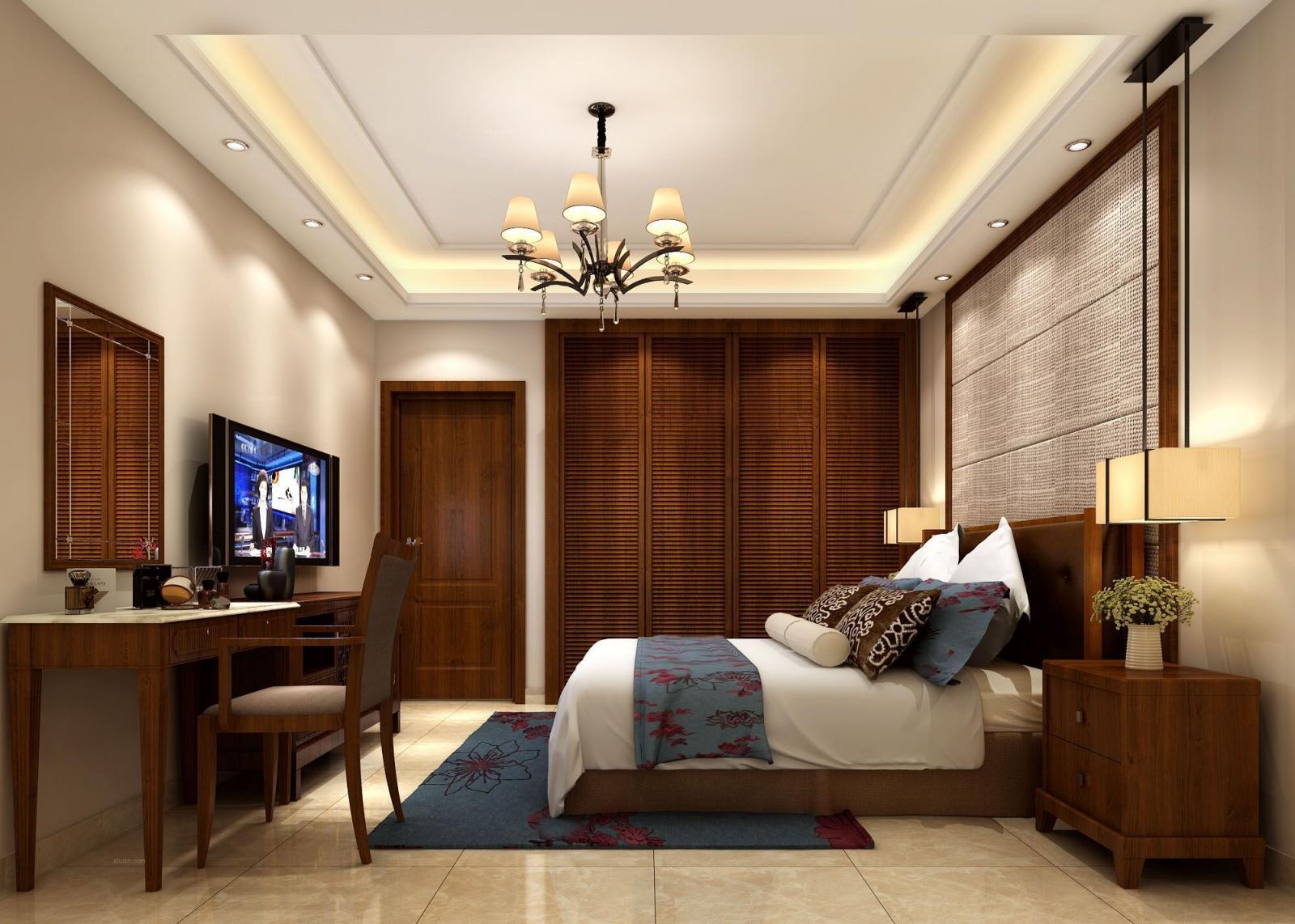 三室两厅中式风格卧室_新新家园装修效果图-x团装修网图片