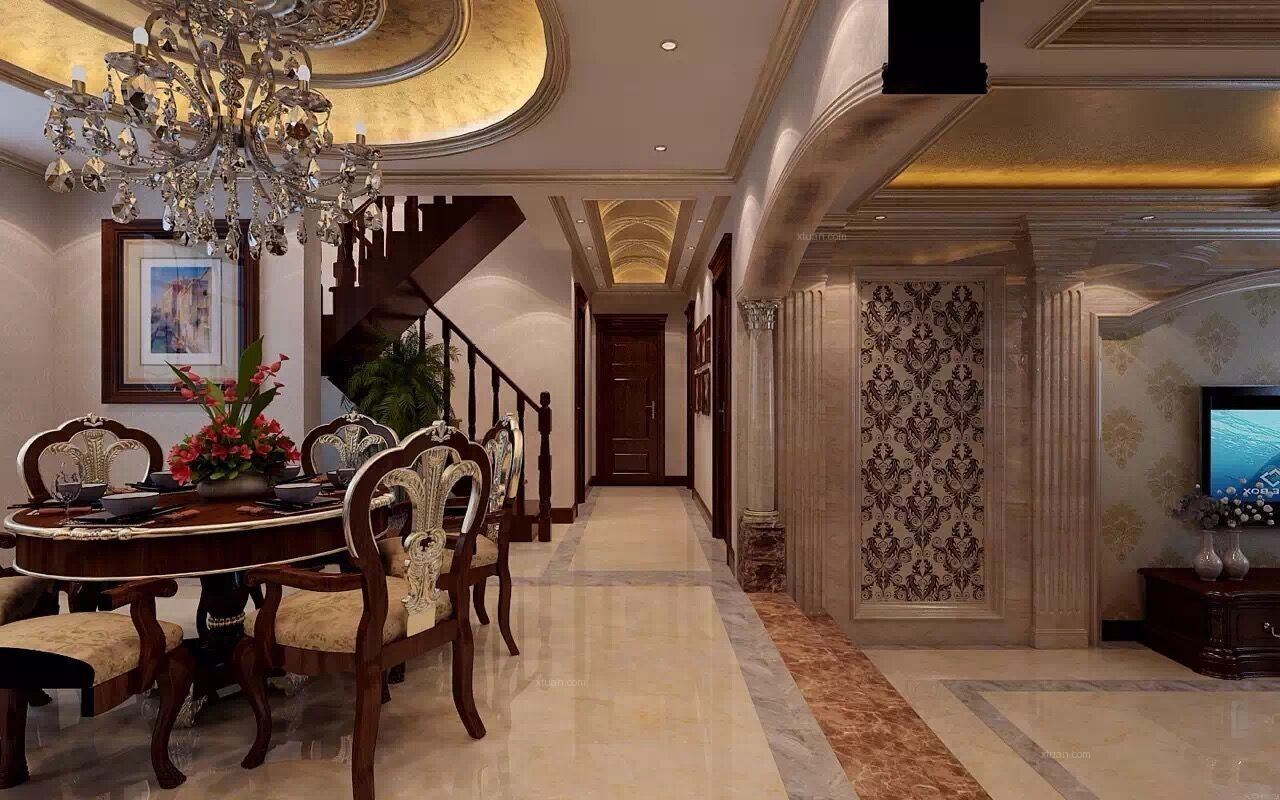 别墅欧式风格餐厅圆形吊顶