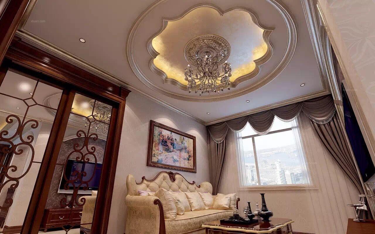别墅欧式风格休闲区圆形吊顶