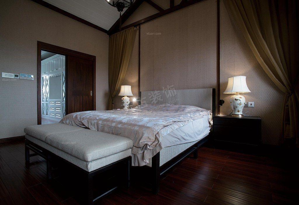 别墅中式风格主卧室_绿地翠谷图 联排中户新中式风格