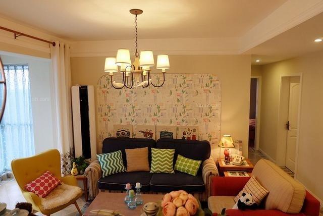 单身公寓美式风格客厅图片