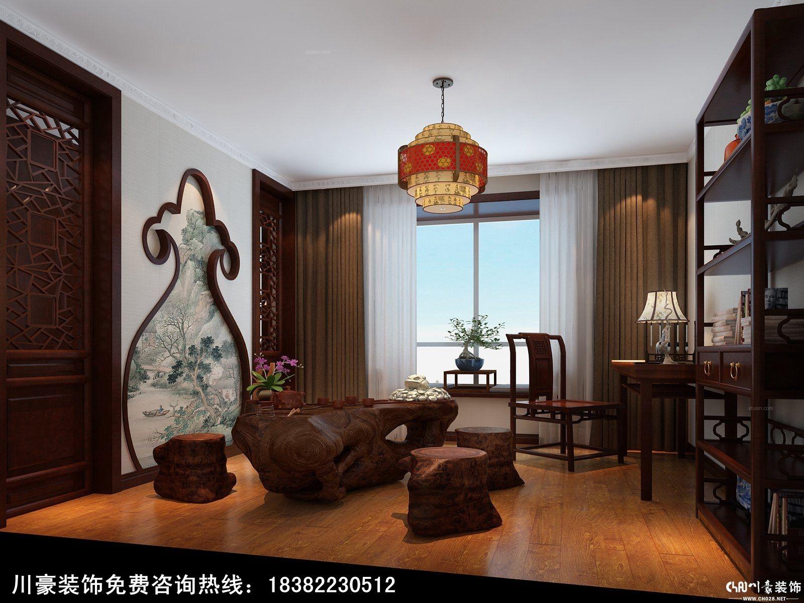 四居室欧式风格书房_成都川豪装饰设计现代中式风格图