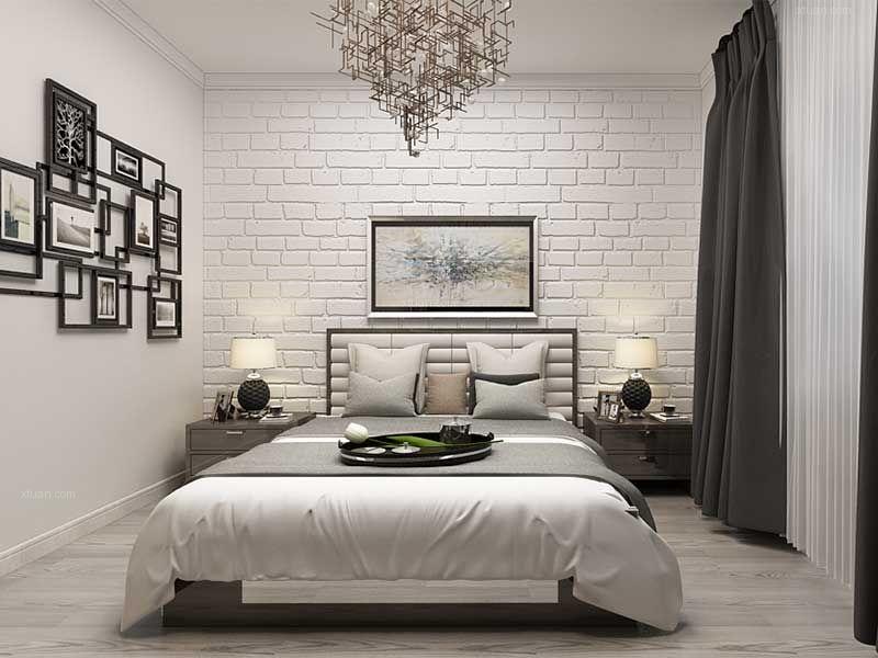 两居室北欧风格卧室卧室背景墙